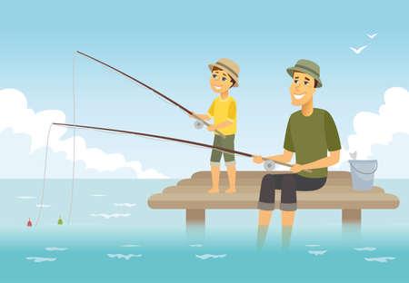 Père et fils de pêche - illustration de personnages de dessin animé. Composition avec jeune parent et son enfant assis sur une jetée avec des cannes à poisson et un panier, s'amusant ensemble. Concept de famille