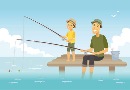 Vater und Sohn fischen - Zeichentrickfilm-Personenabbildung. Komposition mit jungen Eltern und seinem Kind, die auf einem Pier mit Fischruten und einem Korb sitzen und eine gute Zeit zusammen haben. Familienkonzept
