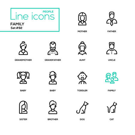 Family - modern line design icons set. High quality black pictograms on white background. Mother, father, grandmother, grandfather, aunt, uncle, baby, toddler, sister, brother, dog, cat Illustration