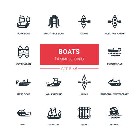 Boats - flat design style icons set. High quality black solid pictograms. Canoe, aleutian kayak, catamaran, inflatable, junk, motor, bass, gig boat, walkaround, personal watercraft, raft, barrel