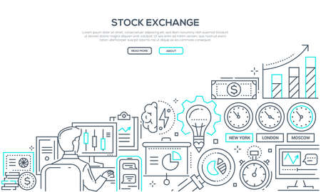 Stock exchange - modern line design style illustration on white background with place for your info. A composition with a broker at the computer, infographics, money, clocks with different time zones