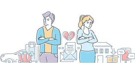 Scheidung - bunte Linie Design-Stil Illustration auf weißem Hintergrund. Hochwertige Komposition mit einem jungen Paar, das sich trennt, Besitz und Besitz teilt, Auto, Haus. Beziehungskonzept