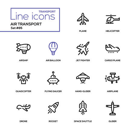 Transporte aéreo - conjunto de iconos de diseño de línea Ilustración de vector