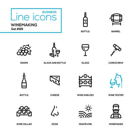 Winemaking - modern line design icons set. High quality black pictograms. Bottle and glass, barrel, grape, corkscrew, cheese, wine shelves, tester, cellar, nose, grapevine, winemaker