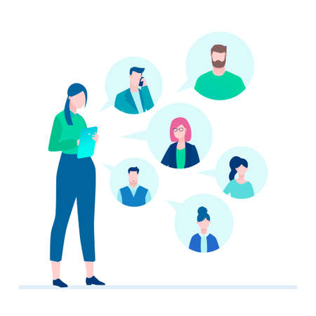 Office chat - flat design style illustration on white background. A young female worker with a tablet having a conversation with her colleagues, partners. Perfect for your website and mobile apps Stock Illustratie