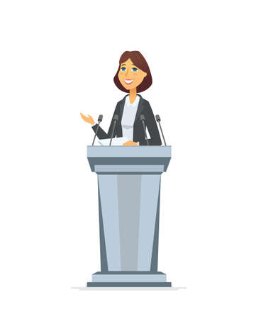 Female politician - cartoon people character isolated illustration on white background. A composition with young pretty woman, public speaker standing behind a podium, giving a speech to the audience