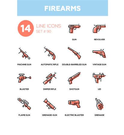 Armas de fuego - conjunto de iconos de diseño de línea moderna Ilustración de vector