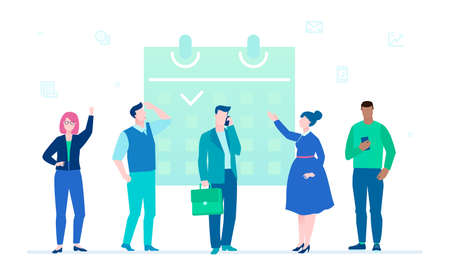 Business process - flat design style illustration on white background. Male and female managers standing next to a big planner, working on a project, discussing their ideas. Time management concept Ilustração