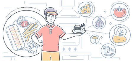 Fast food - colorful line design style illustration on white background. High quality composition with a restaurant, cafe worker holding a plate with French fries and hamburger, images of vegetables