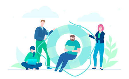 Business cooperation - flat design style illustration on white background. A metaphorical composition with a lifeline. Colleagues working together on a project. Teamwork, mutual help concept Illustration