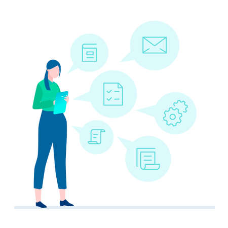 Multitasking - flat design style illustration Stockfoto - 105230327