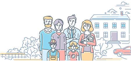 Valores familiares - ilustración de estilo de diseño de línea colorida sobre fondo blanco. Composición de alta calidad con una pareja joven de pie con tres niños pequeños y sus padres, bonita casa, coche, árboles