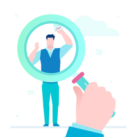 Search for candidate - flat design style illustration on white background. A colorful composition with a big magnifying glass, young male worker with a resume. Recruitment and human resource concept 일러스트