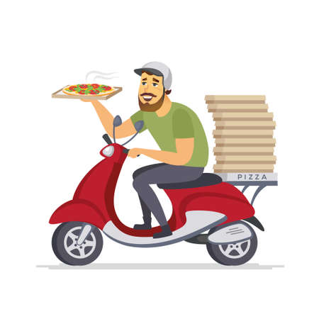 Delivery man - cartoon people characters isolated illustration Banque d'images - 105423417