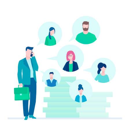 Business communication - flat design style illustration