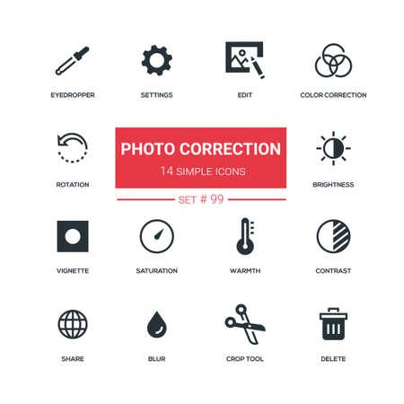 Photo correction - flat design style icons set