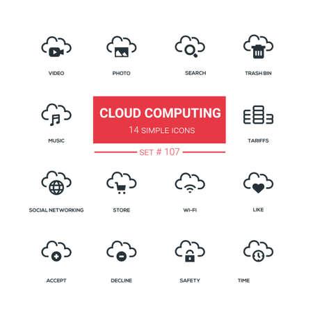 Cloud computing - flat design style icons set Illustration