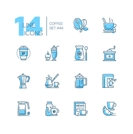 Coffee set - line design style icons isolated on white background. Blue pictograms, bean, paper cup, latte, grinder, moka pot, cezve, french press, machine, jug, milk. newspaper, croissant, cupcake Illustration
