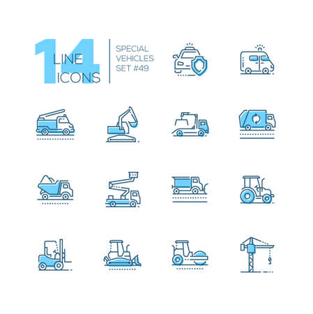 Special vehicles - line design blue icons set. Police car, fire engine, ambulance, aerial platform, tow, snowplow, sprinkler, wrecker, dump, line marking truck, taxi, multicar, emergency response