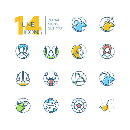 Zodiac signs - set of line design style colorful icons
