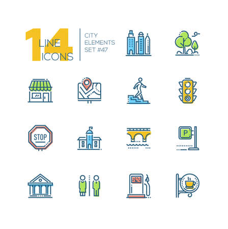 City elements - set of line design style colorful icons