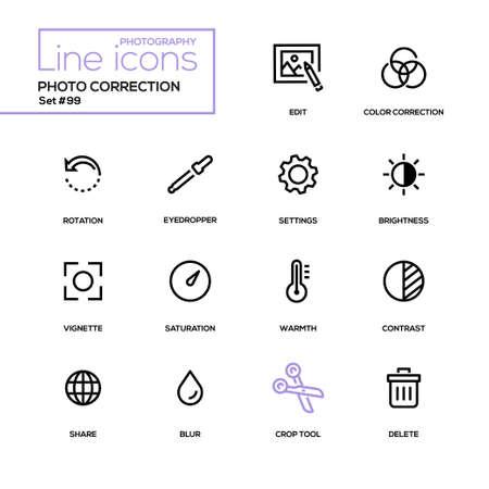 Correzione della foto - set di icone del design moderno, pittogrammi. Modifica, correzione del colore, rotazione, contagocce, impostazioni, luminosità, vignetta, saturazione, calore, contrasto, forma, sfocatura, strumento di ritaglio, elimina