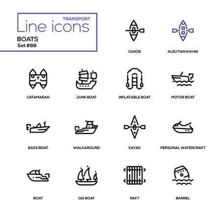 Boats - modern line design icons set. Canoe, aleutian kayak, catamaran, inflatable, junk, motor, bass, gig boat, walkaround, personal watercraft, raft, barrel. High quality black pictograms