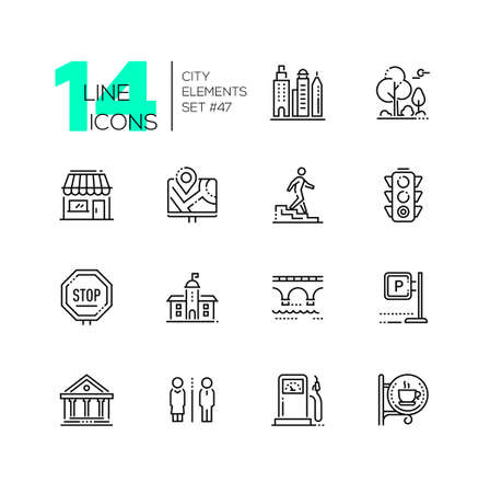 City elements - set of line design style icons Vettoriali