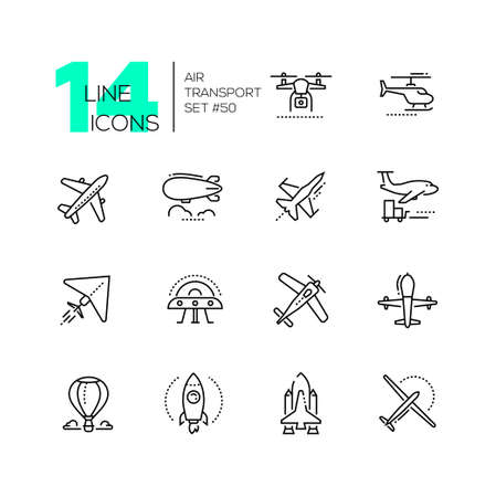 Air transport - thin line design icons set. Black pictograms. Plane, helicopter, airship, balloon, jet fighter, cargo, quadcopter, flying saucer, hang glider, drone, rocket, space shuttle, airplane