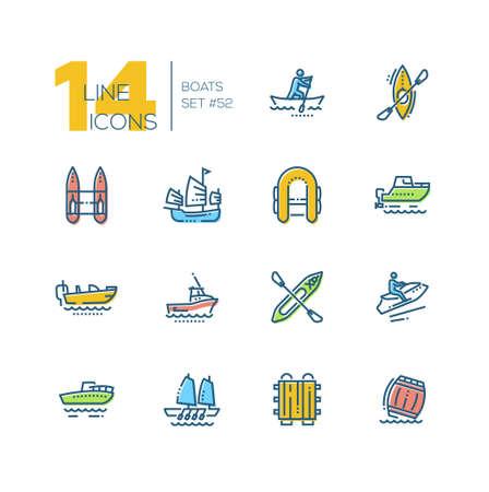 Bateaux - ensemble d'icônes de conception de ligne mince colorée. Canot, kayak des Aléoutiennes, catamaran, pneumatique, jonque, moteur, achigan, gig boat, walkaround, motomarine, radeau, baril. Pictogrammes noirs de haute qualité