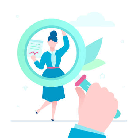Search for candidate - flat design style illustration on white background. A colorful composition with a big magnifying glass, young female worker with a resume. Recruitment and human resource concept