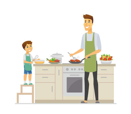 Father and son cooking - cartoon people characters illustration isolated on white background. Young parent frying cutlets and kid with a whisk, making dinner together in the kitchen. Family concept