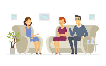 A couple visiting a psychologist - cartoon people character isolated illustration on white background. An image of a family talking to a doctor, sitting on a sofa. Young female counselor making notes