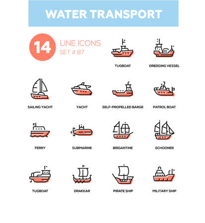 Water transport - line design icons set