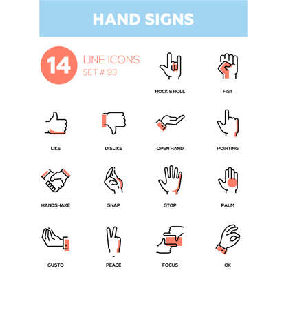 Hand signs - modern line design icons set. High quality pictograms on white background. Rock and roll, fist, like, dislike, open, pointing, handshake, snap, stop, palm, gusto peace focus ok