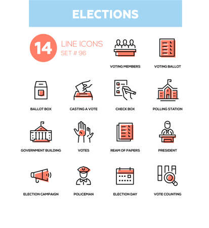 Elections - modern line design icons set. Voting members, ballot, check box, casting a vote, polling station, government building, ream of papers, president, campaign, policeman day counting