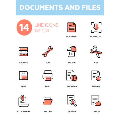 Documents and files - modern line design icons set. High quality black pictograms. Download, archive, edit, delete, cut, save, print, browser, update attachment folder search cloud