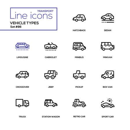Vehicle types - line design icons set