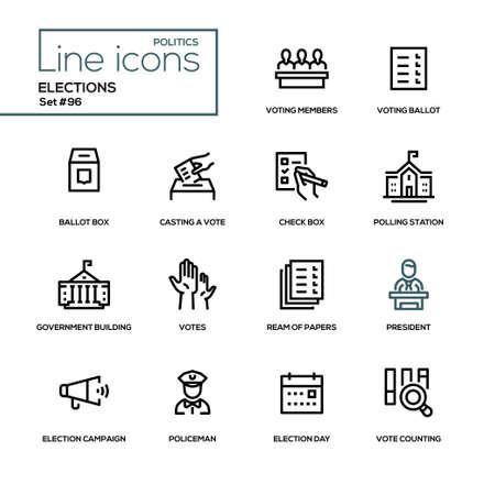 Elezioni - set di icone del design di linea moderna. Membri votanti, scheda elettorale, casella di controllo, votazione, seggio elettorale, edificio del governo, risma di carte, presidente, campagna, poliziotto, giorno, conteggio