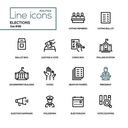 Wahlen - moderne Liniendesign-Ikonen eingestellt. Abstimmende Mitglieder, Stimmzettel, Kontrollkästchen, Stimmabgabe, Wahllokal, Regierungsgebäude, Papierstapel, Präsident, Wahlkampf, Polizist, Tag, Auszählen
