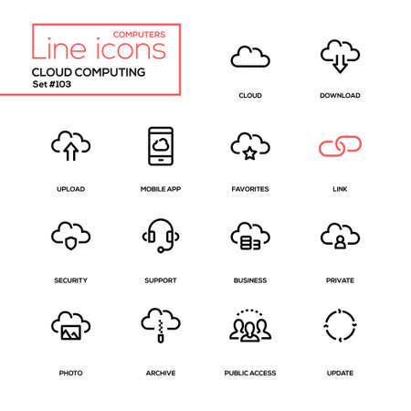 Cloud computing - modern line design icons set. High quality pictograms. Download, upload, mobile app, favorites, link, security, support, business, private, photo, archive, public access, update Foto de archivo - 114783053