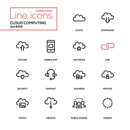 Cloud computing - zestaw ikon nowoczesnej linii. Piktogramy wysokiej jakości. Pobierz, prześlij, aplikacja mobilna, ulubione, łącze, bezpieczeństwo, wsparcie, biznes, prywatna, zdjęcie, archiwum, dostęp publiczny, aktualizacja