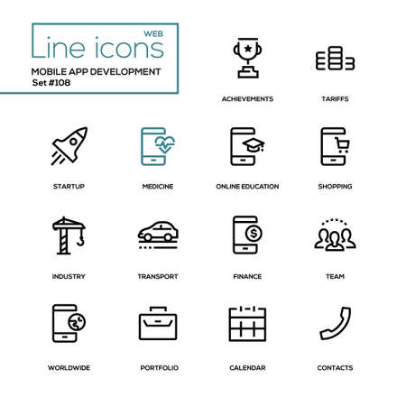 Mobile app development - modern line design icons set. Achievement, tariffs, startup, medicine, online education, shopping, industry, transport, finance team worldwide portfolio calendar contacts Illustration