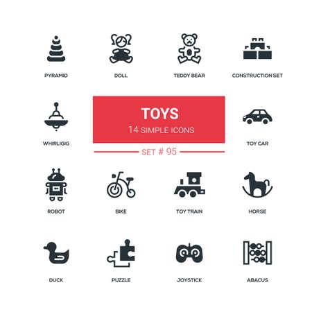 Speelgoed - plat ontwerp stijl iconen set. Hoge kwaliteit pictogrammen op witte achtergrond. Teddybeer, bouwset, zweefmolen, piramide, pop, auto, robot, fiets, trein, paard eend puzzel joystick telraam