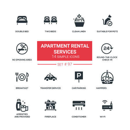 Apartment rental service - flat design style icons set