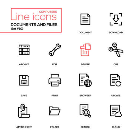 Documents and files - modern line design icons set. High quality black pictograms. Download, archive, edit, delete, cut, save, print, browser, update, attachment, folder, search, cloud Illustration