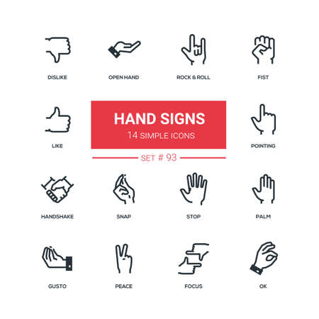 Hand signs - flat design style icons set. High quality solid pictograms on white background. Rock and roll, fist, like, dislike, open, pointing, handshake, snap, stop, palm, gusto, peace, focus, ok