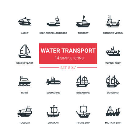 Water transport - flat design style icons set. Tugboat, dredging vessel, yacht, self-propelled barge, patrol boat, ferry, submarine, brigantine, schooner, drakkar, pirate, survey and military ship