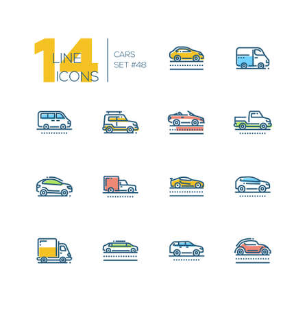 Cars - set of line design style colorful icons, pictograms isolated on white background. Sedan, minivan, minibus, cabriolet, box van, pickup, jeep, crossover, hatchback, sport, truck, wagon, limousine, retro