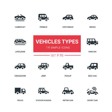 Vehicle types - flat design style icons set. Black pictograms. Hatchback, sedan, limousine, cabriolet, minibus, minivan, crossover, jeep, pickup, box van, truck, station wagon, retro and sport car